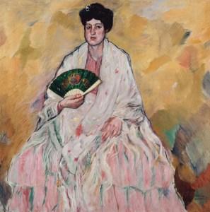 """Cuadro de la colección BBVA de Francisco Iturrino González (Santander, 1864 – Cagnes-sur-Mer, 1924) titulado : """"Mujer con abanico"""". Foto cedida."""