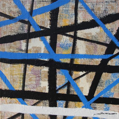 "Early development, por Oscar Abreu, 2013, técnica mixta sobre canvas 24"" x 24"""