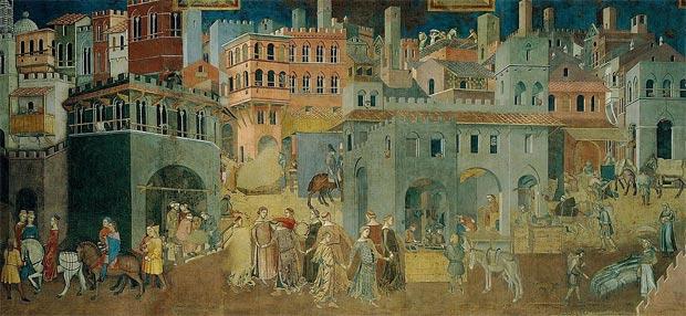 Consecuencias del buen gobierno de la ciudad.  A. Lorenzetti. Siena, 1337.