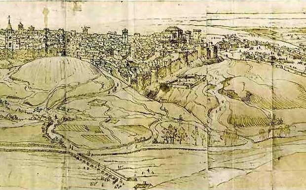 Vista de Madrid en 1562. Grabado de Anton Van der Wyngaerde