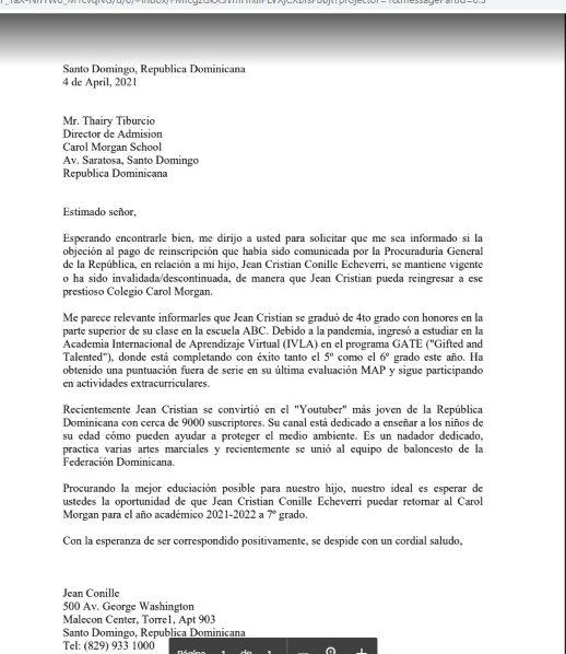 Carta del padre del niño al centro educativo. (Fuente externa)