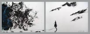 Nicolás Nieto. A fronte praecipitium a tergo lupi, tinta china sobre papel. 50 X 100 cm. 2012. Selección del jurado
