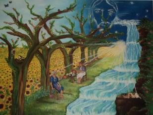 Antonella Carla Feletti. Mis ángeles guardianes, óleo sobre tela. 50 x 60 cm. 2010. Selección del público: 888 votos