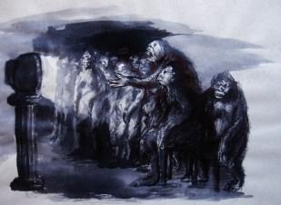Galina Gorokhova. Tótem, tinta y estilográfica sobre papel. 29,7 x 21 cm. 2011. Selección del jurado