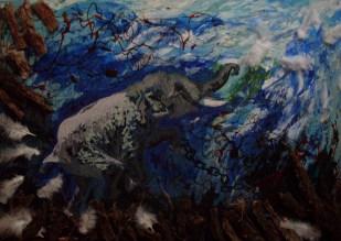 Eugenia Jazmín Zárate. El vuelo del elefante, técnica mixta sobre cartón. 100 x 70 cm. 2013. Selección del público: 876 votos