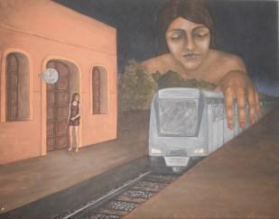 Ximena Carolina Gilberto. Mis ojos vigilándome, acrílico sobre lienzo. 90 x 70 cm. 2012. Selección del público: 889 votos