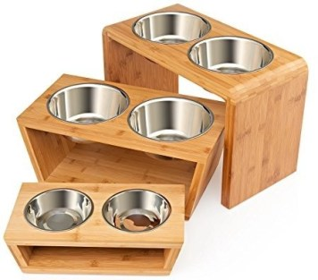 bamboo elevated pet feeder