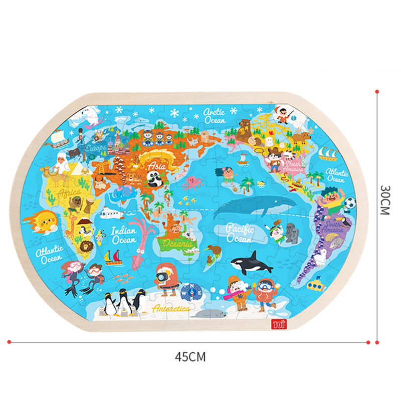 Large Wooden Map of the World Puzzle • Nugget & Goose