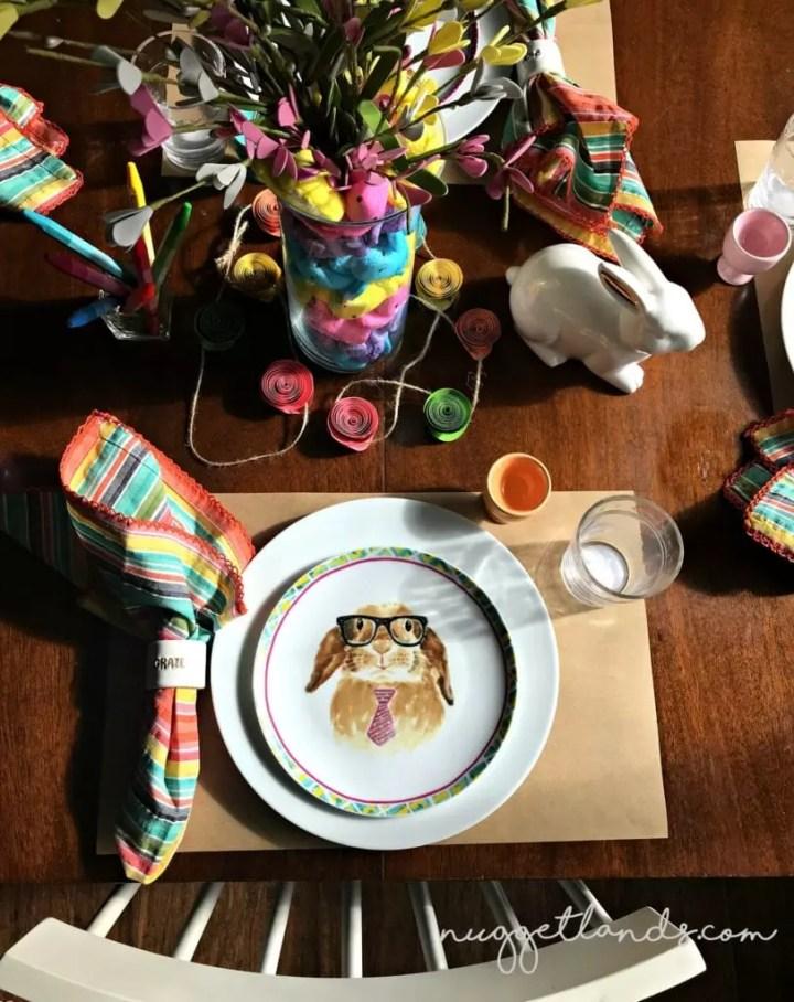 Easter Kids Table above glasses