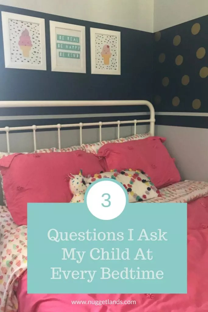 3 questions to add to your kids bedtime routine that will teach vulnerability, and self awareness. Perfect for preschoolers or even teens yet simple enough for toddlers. They are even a great reminder for adults. #parenting #toddler #kids #bedtime #routine #vulnerability #positiveparenting