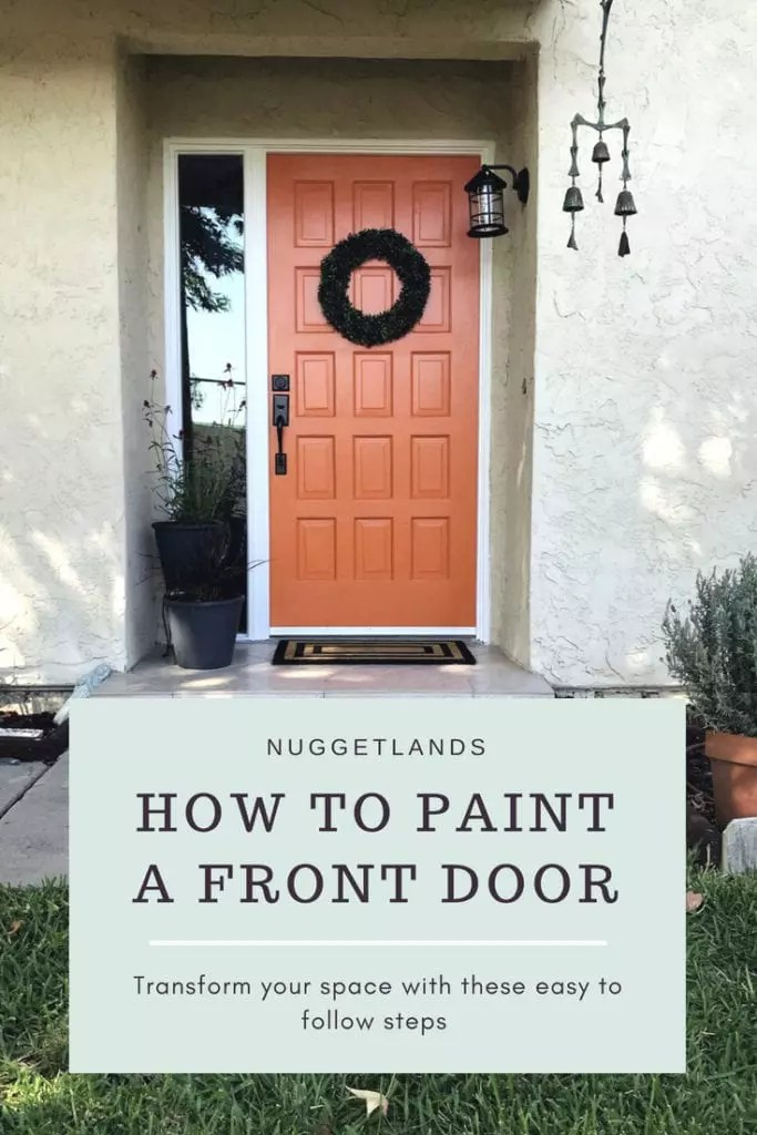 Tips on how to paint a front door even with a sidelight or windows. Ideas to make this DIY project easier, especially if you have kids or dogs. Painting a wood door with a bold color will transform your entrance. #DIY #frontdoor #homeimprovement #paint #bold
