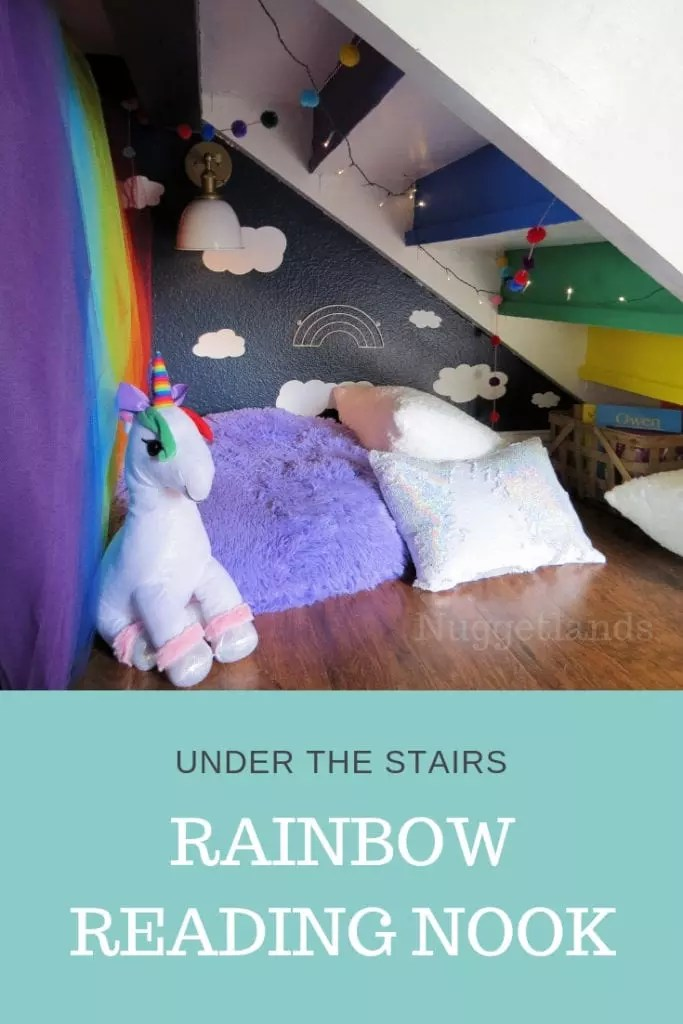 Cozy under stairs reading nook with floor pillows perfect for kids of all ages. Make a rainbow room come to life even for a teen. Ideas and DIY projects to turn a small space, corner, loft or closet into a cozy hideout and playroom. #DIY #Readingnook #understairs #rainbow #teen #ideas #small #fort #hideout #playroom