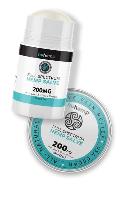 Nuhemp Hemp Extract Salve 200mg pain stick and 200mg hemp extract salve tin 2oz