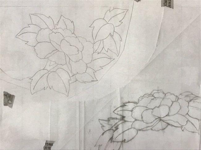 牡丹と蝶の花丸紋の加賀繍の名古屋帯の腹部分の下絵・初めに考案した下絵をシンプルにした下絵