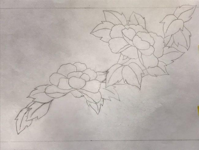 牡丹と蝶の花丸紋の加賀繍の名古屋帯の腹部分の最終形の下絵・斜めに流れ図案