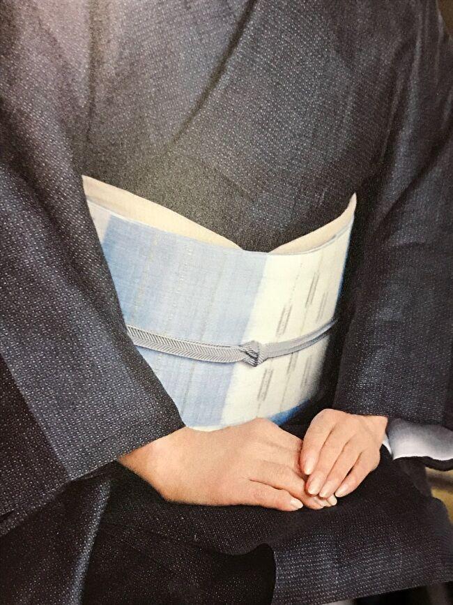 宮古上布・紺上布の亀甲絣のきものと山下健の紗紬九寸名古屋帯