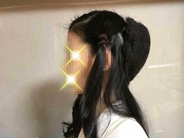 着物の髪型のアップのやり方、手順・土台にすき毛を被せる