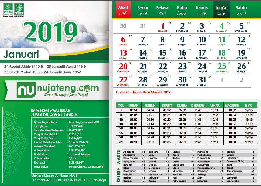 Unduh Kalender Masehi 2019 Dan Hijriyah Dilengkapi Data Waktu