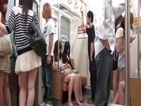 木村つな スーツに身を包んだ女性が電車の中で集団痴漢に遭い、輪姦、顔面ぶっかけ、中...