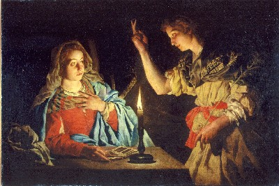 Matthias Stomers Annunciation controversially suggests that Mary is going to have twins.