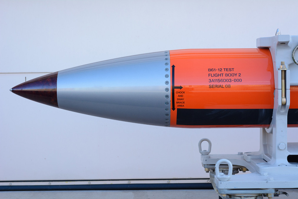 """A flight test body of a B61-12 is a semi-operational copy of the nuclear weapon but without the """"physics package"""" (nuclear bomb) or functional tail fins."""