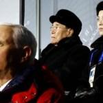 Behind VP Pence: Kim Yong Nam, President of the Presidium of North Korean Parliament, and Kim Yo Jong, sister of leader Kim Jong Un ()