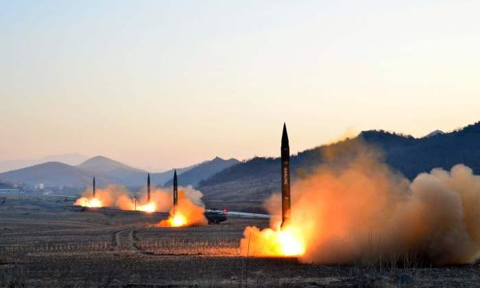 North Korean ballistic missiles. The document said nuclear weapons could 'create conditions for decisive results and the restoration of strategic stability'. Photograph: STR/AFP/Getty Images