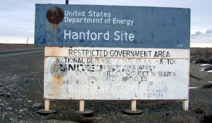 Entry sign at Hanford Site, Washington. Photograph taken by Tobin Fricke - January 2005.