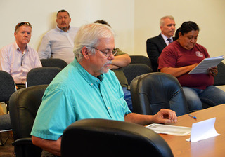 RCLC Hears Talk On Nuclear Fuel Storage Facility. Scott Kovac of Nuclear Watch New Mexico expressing his concerns during the public comment portion of Thursday's meeting. Photo by Carol A. Clark/ladailypost.com