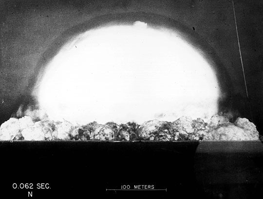 Trinity Test - Alamogordo, NM - July 16, 1945. The early fireball at 62 milliseconds