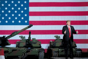 Saul Loeb/AFP/Getty Images President Trump after touring the Lima Army Tank Plant, Lima, Ohio, March 20, 2019