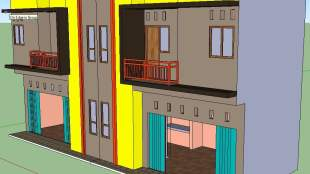 Gambar 3D Desain Ruko 2 Lantai Minimalis