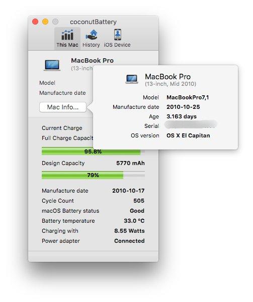 coconutBattery - Cek Kondisi Baterai MacBook Pro dan iPhone - Informasi MacBook di coconutBattery