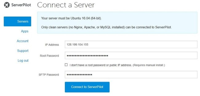 Koneksi VPS ke ServerPilot