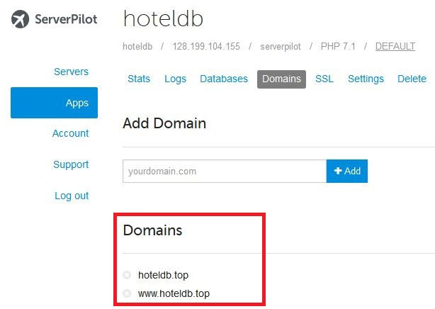 Menambahkan Domain ke ServerPilot Langkah ke 2