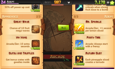 Pilihan Background dan Blade Fruit Ninja