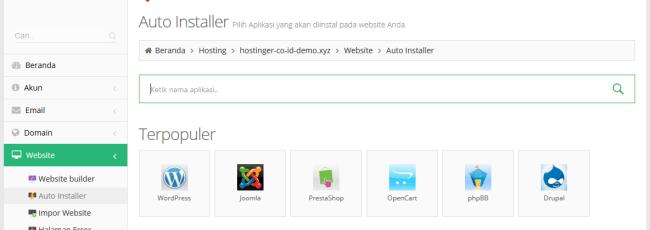 Hostinger Indonesia - Web Hosting Terjangkau untuk Blogger Indonesia - auto installer
