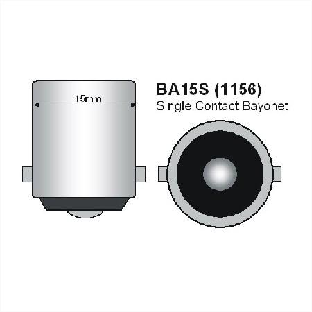 BA15s LED Spot 12V en 24V Warm wit Melkglas