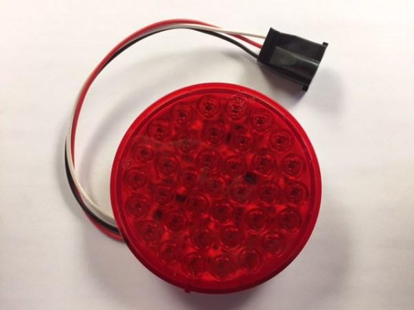 "4"" Round Red LED Bullseye Tail/Turn Light with Plug 417YR-P"
