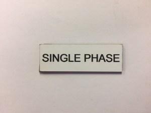 Single Phase Legend Plate NL560052