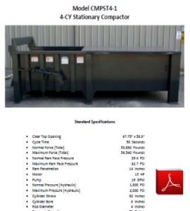 Stationary Compactor - 4 CY Capacity