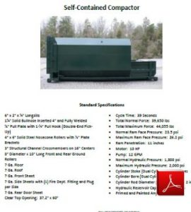 Self-contained Compactor, includes Receiver Container