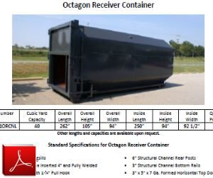 Octagon Receiver Container for Compactor