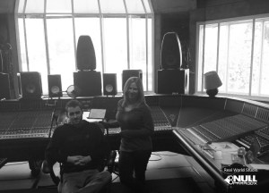 Patrick Phillips and Robyn Christine in the Big Room at Real World Studios with Null Paradox. Photography by Tom Libertiny.