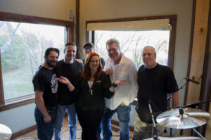 "Null Paradox at Dark Horse Recording Studio. Dave Ziozios, Tom Libertiny, Mark Baldwin, Heather Parrish, John ""JR"" Robinson, Larry Crowe."