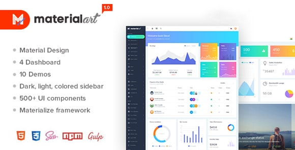 Materialart Powerful Material Admin Template Download