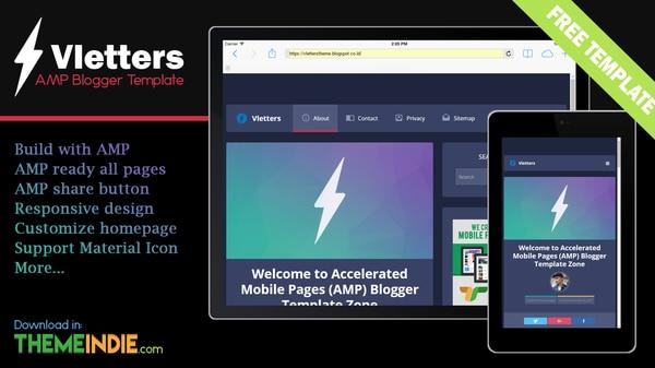 VlettersAMP Blogger Template Download