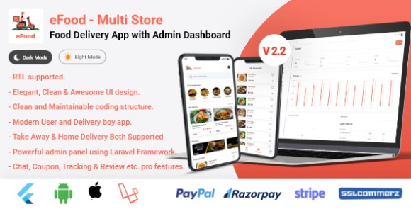 eFood Food Delivery App with Laravel Admin Panel