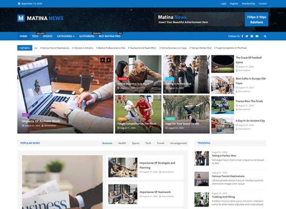 Matina News Creative WordPress Magazine Theme