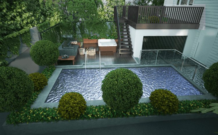 Patio, Deck & Pool design, Patio, Deck & Pool concept design in 3D